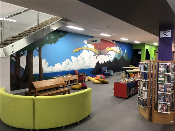 library Dragon mural
